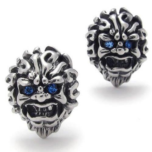 KONOV Joyería Pendientes de hombre–Pendientes–de calavera–cráneo gótico DIABLO Biker–acero inoxidable–para hombre–COLOR AZUL PLATA–con bolsa regalo–f20345