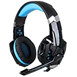 KOTION EACH G9000 3,5-mm-Over-Ear-Kopfhörer mit Mikrofon und Lautstärkeregler Stereo Surround Sound LED-Licht Gaming Headset für PlayStation 4 Tablet PC Mobilephones (schwarz + blau)