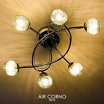 AIR CORNO エアコルノ 014 LED シーリングライト シャンデリア 6灯 ハンドメイド 硝子セード G9