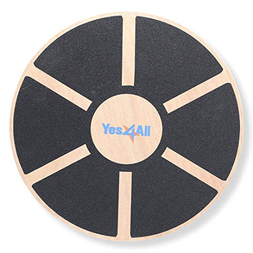 Yes4All Wooden Wobble Balance Board – Exercise Balance Stability Trainer 15.75 inch...