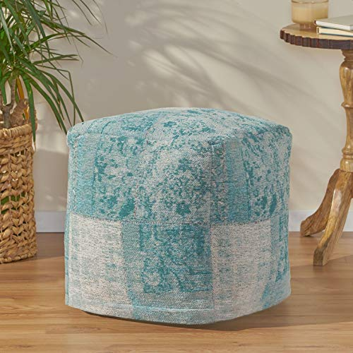 Liza 16' Velvet Square Patchwork Pouf Ottoman, Seat Fill Material Details: Polystyrene Beads, Upholstery Material: Cotton Blend; Cotton Twill