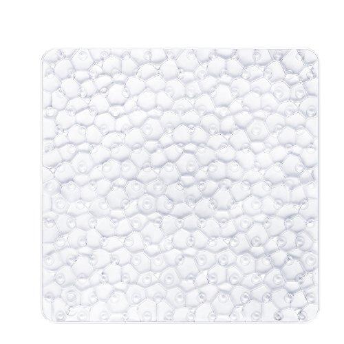 BliGli Non Slip Quadratische Duschmatte für Badezimmerwasserwürfel Durchsichtige PVC Anti-Schimmel Antirutsch Badematte mit Grip Saugnäpfen54*54CM (Clear)