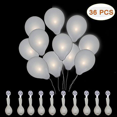 Amaza 36 Pcs Globos Led Decoracion Cumpleaños, Boda Fiesta, Navidad (Blanco) (36 Pieces)