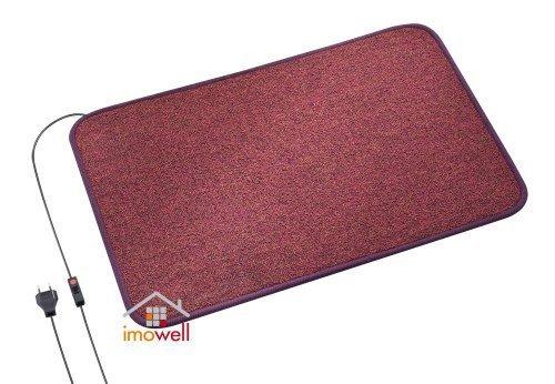 Heatmaster Heizteppich 150 Watt bordeaux/rot, 90 x 60 cm, beheizbare Heizmatte elektrisch, Ideal für warme Füße, Fußheizung Büro, Infrarot Heizteppich Wohnwagen