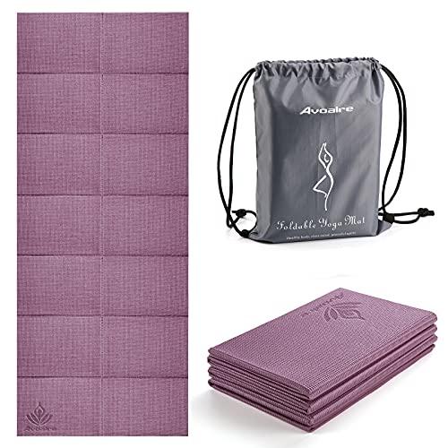Avoalre Esterilla de Yoga Antideslizante Plegable 183x80CM, Colchoneta Yoga PVC Antideslizante 6MM de Grosor Fácil de Doblar para Fitness Ejercicio Pilates Deportes para Mujer Hombre Niño, Púrpura