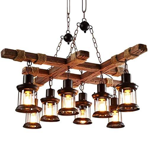 HYQJUNE Retro Pendellampe LED Vintage Pendelleuchte Rustikale Holzbalken Edison Hängende Deckenleuchte Hölzerne Art-Hängende Höhenverstellbar Industrielle Loft Bar Küche Esszimmer Industrie Lampen