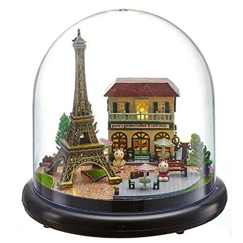 Flever Dollhouse - Kit de casa de muñecas en miniatura, sala creativa con muebles y cubierta de cristal para regalo de arte romántico (parisino romántico).