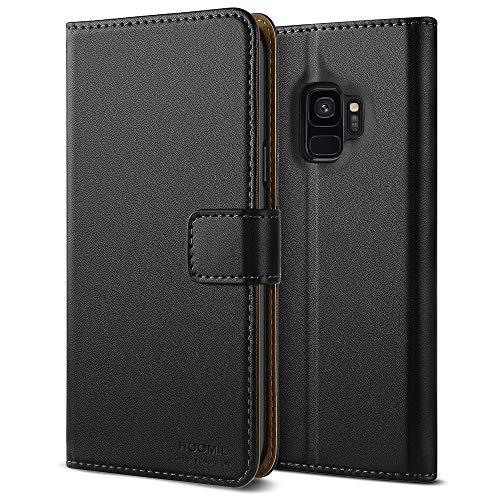 HOOMIL Galaxy S9 Hülle, Handyhülle Samsung Galaxy S9 Tasche Leder Flip Hülle Brieftasche Etui Schutzhülle für Samsung S9 Cover - Schwarz (H3236)