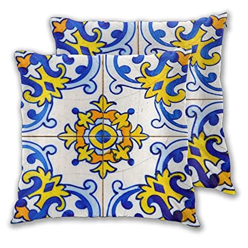 Juego de 2 fundas de almohada tradicionales de azulejos azulejo portugués decorativos dos lados impresos funda de cojín para sofá, cama, sala de estar, 45,7 x 45,7 cm