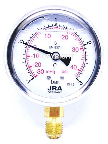 """JRA-Longlife Glyzerin Manometer -1/+3 bar/psi NG63 Anschluss unten G1/4"""""""