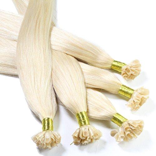 hair2heart 25 x 1g Echthaar Bonding Extensions, glatt - 60cm - #60 platinblond, Keratin Haarverlängerung Bondings
