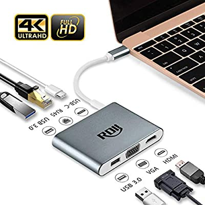 USB C Dock, RDII 6 in 1 USB C hub to 4K Hdmi, Vga, USB 3.0 X 2, Megabit Ethernet...