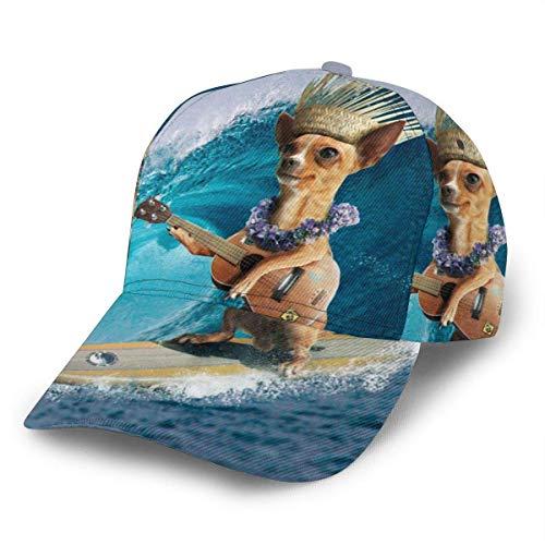 NA Gorra de béisbol unisex Chihuahua Perro Surf y tocar Guitarra Sombrero de camionero Gorras Correa ajustable