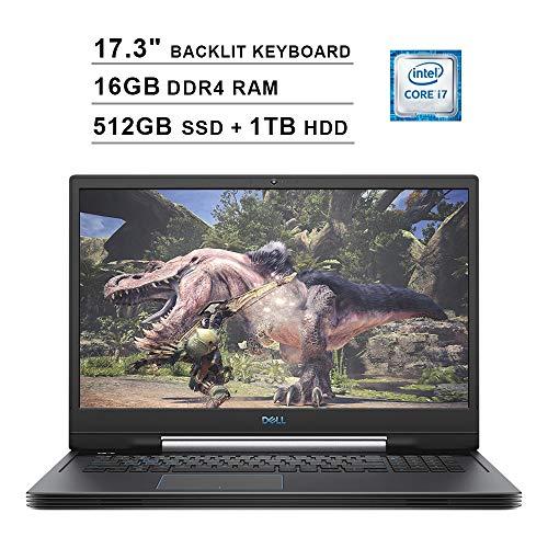 2019 Dell G7 7790 17.3 Inch FHD 1080p 144Hz Gaming Laptop (9th Gen Intel 6-Core i7-9750H up to 4.50 GHz, 16GB DDR4 RAM, 512GB SSD (Boot) + 1TB HDD, NVIDIA GeForce RTX 2070 8GB, Backlit KB, Windows 10)