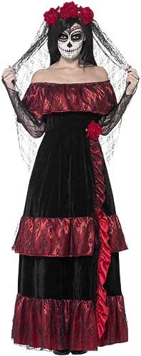 Horror-Shop Day of The Dead Braut Kostüm mit Rosan Schleier für den Tag der Toten L