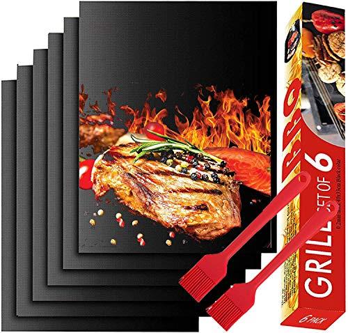 NiLeFo BBQ Grillmatte,Grillmatte 6 Set zum Grillen und Backen mit 2 Brush, Antihaft BBQ Grill-und Backmatte Wiederverwendbar Frei, Ideal für Kohlegrill, Gasgrill, Elektro Grill (Schwarz)