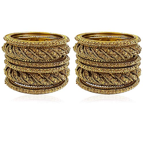 YouBella Ethnic Bollywood Gold Plated Traditional Indian Bracelets Bangles Jewellery for Women and Girls (6.3)