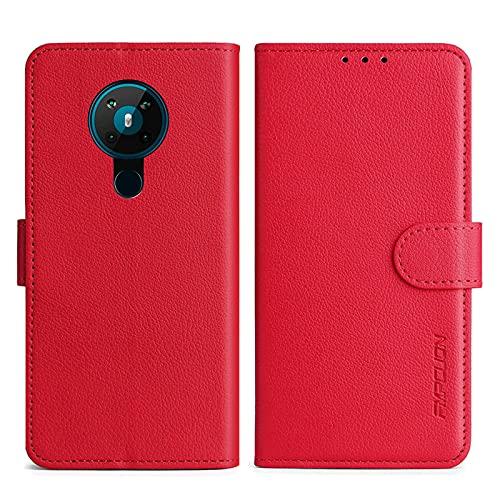 FMPCUON Handyhülle Kompatibel mit Nokia 5.3 Hülle Leder PU Leder Tasche,Flip Hülle Lederhülle Handyhülle Etui Handytasche Schutzhülle für Nokia 5.3,Rot