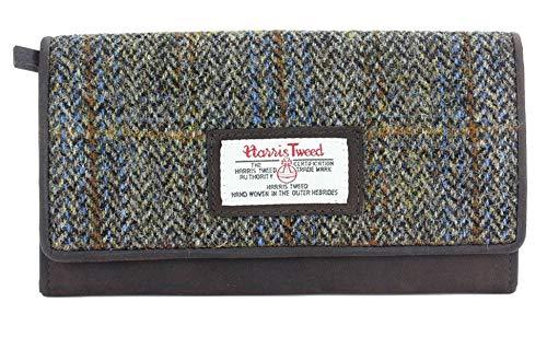 The British Bag Company Carloway Leder Lange Geldbörse mit Braunem Fischgräten Harris Tweed