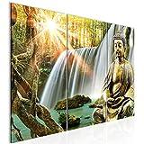 Tabla decoración de la pared de la cascada de Buda - 90 x 60 cm Vista de impresión en lienzo Salón Apartamento - listo para colgar - 012132a