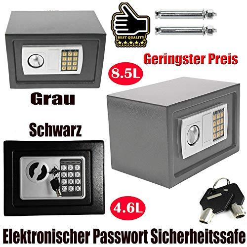 Tresor Klein Elektronischer Safe Minisafe Wandtresor Mini Tresor Stahlsafe Möbeltresor Wandsafe Elektronikschloss 2 Schlüssel -8.5L (Grau)