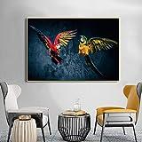 wZUN Póster de Pintura de Lienzo de Loro Animal imprimible en HD y Fotos de Arte de Pared 60X90 Sin Marco