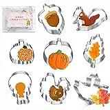 Thanksgiving Cookie Cutters 8PCS Fall Leaves Cookie Cutter Set Turkey, Pumpkin, Maple/Oak Leaf, Corn,Squirrel and Acorn Turkey Leg
