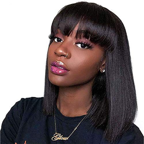 Short Bob Wigs With Bangs Brazilian Straight Virgin Human Hair 8 inch Bob Wig Glueless Machine Made Non Lace Front Wig for Black Women Natural Color
