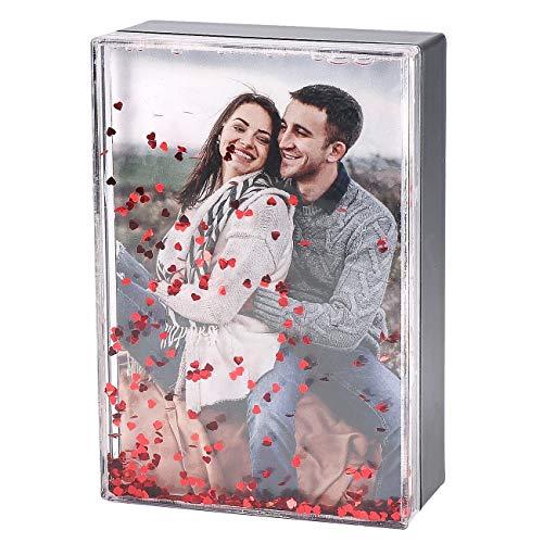 Herz & Heim® Bilderrahmen als Geschenkbox im Schneekugel Stil mit Ihrem Foto eine schöne Geschenkidee für Liebende zum Jahrestag oder Valentinstag Foto