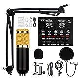WBJLG Kit de Micrófono de Condensador, BM-800 Mic Professional Studio Recording Set, Tarjeta de Sonido en Vivo con Efectos y Cambiador de Voz, Mini Tablero Mezclador de Sonido con Efectos de Sonido