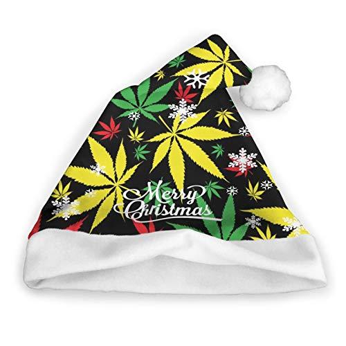 ZVEZVI Sombrero de Navidad, sombrero de Pap Noel, sombrero de Navidad para adultos, marihuana jamaicana sobre malas hierbas negras unisex, comodidad para Navidad, Ao Nuevo, fiesta de vacaciones