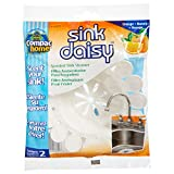 Compac Sink Daisy, Scented Kitchen Sink Strainer - infuses & Freshens Your Sink with Crisp, Clean, Exciting Scents, While Protecting Garbage Disposals & Drains, Mandarin, 2 Count