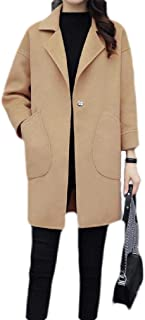 Macondoo Women Winter Lapel Wool Blended Warm Outwear Long Jacket Coat