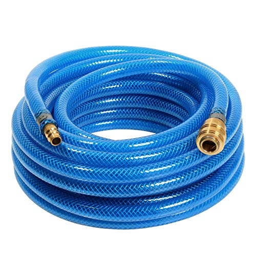 as – Schwabe Druckluftschlauch-Garnitur mit Polyestergewebeeinlage Serie 2050 – 5 m PVC-Druckluft-Schlauch 9 x 3 mm mit Schnellverschlusskupplung & Stecktülle – Blau I 12705