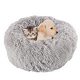 KongEU Rundes Ultra Weicher Plüsch Kuschelkissen für Welpen,Katze,weiches Hundesofa,Kuschel-Nest,Bett für kleine und mittelgroße Hunde und Katzen,waschbar-M:60CM-hellgrau