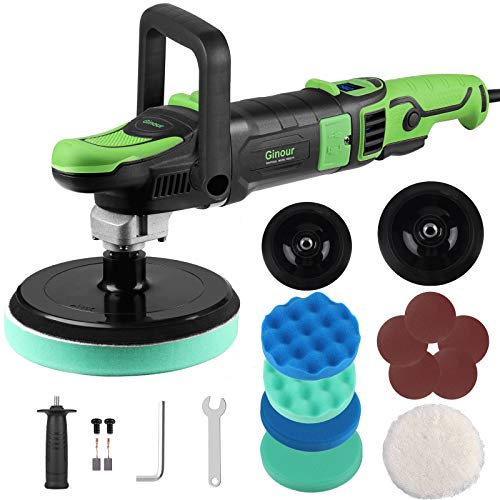 Polisher Ginour 1200W Digital Display Rotary Buffer Polisher 6 Variable Speed with180mm /150mm Backing Plate 4pcs Polishing Discs 1pcs Wool Disc 5pcs Sandpapers for Cars Boats Furniture Wood