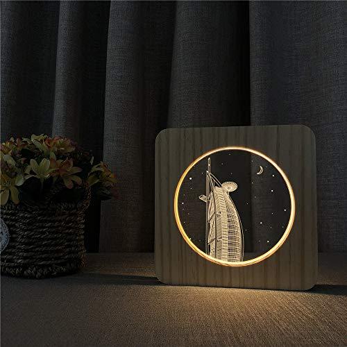 Dekorative Geschenke für Kinder zurück in die Schule, um Acryl Holz Nachtlicht Tischlampe Schaltersteuerung Gravur Lampe zu erstellen