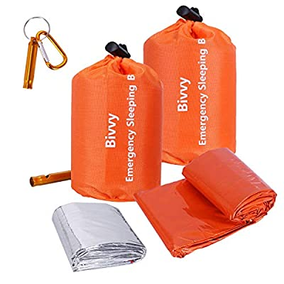 Xtextile 2Pack Emergency Sleeping Bags Lightweight and Compact Sack Survival Sleeping Bag Waterproof Thermal Emergency Blanket Survival Gear for Outdoor Camping, Hiking, Wild Adventures