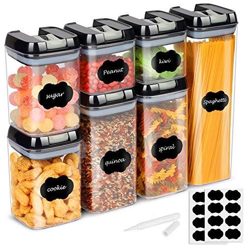 Recipientes herméticos con tapa hermética, 7 unidades, recipientes apilables para cereales, nueces, reservas secas