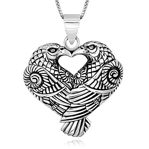 Collar con colgante de corazón de cuervo de plata de ley 925, 45,72 cm