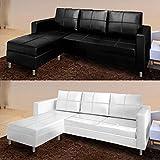 Canapé d'angle moderne 3 places, en similicuir, avec pouf, noir/blanc