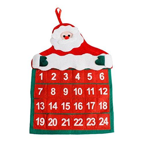 Staron Christmas Calendar Decoration Santa Claus Hotel Lobby Home Family Xmas Pendant Decor Gift (Red)