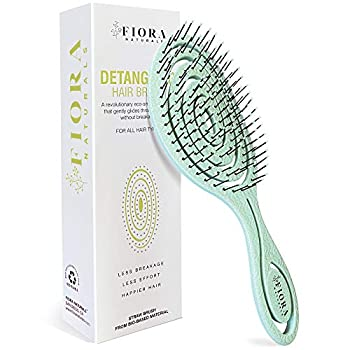 Fiora Naturals Hair Detangling Brush -100% Bio-Friendly Detangler hair brush w/ Ultra-soft Bristles- Glide Through Tangles with Ease - For Curly Stright Women Men Kids Toddlers Wet and Dry Hair