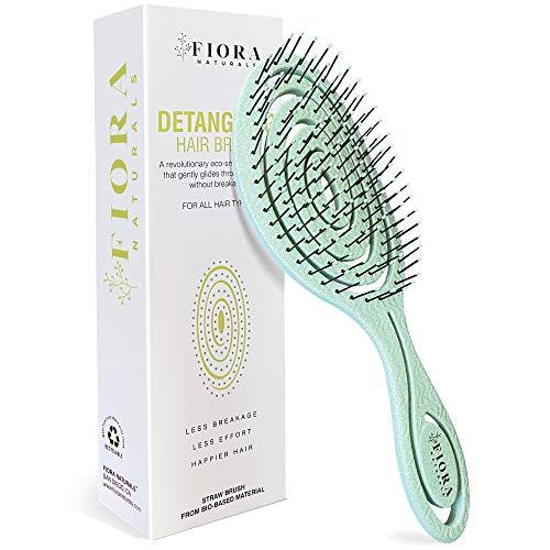 Fiora Naturals Hair Detangling Brush -100% Bio-Friendly Detangler hair brush w/ Ultra-soft Bristles- Glide Through Tangles with Ease – For Curly, Stright, Women, Men, Kids, Toddlers, Wet and Dry Hair
