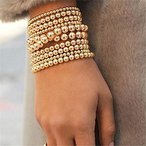 GLJYG Pulseras elásticas de perlas de piedra, pulsera clásica elástica, pulsera de tobillo apilada, pulsera de joyería, regalo para mujeres y niñas, 8 mm