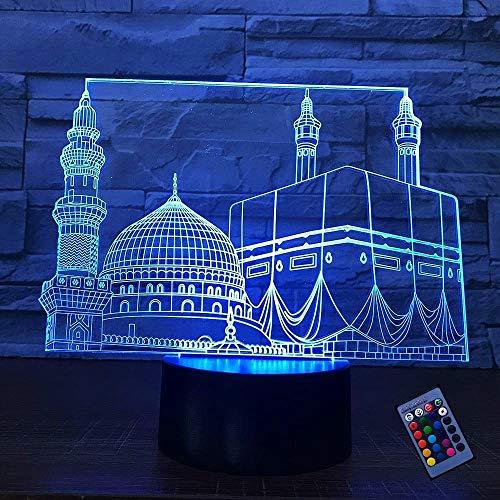 Kreative 3D Islamisches Schloss Nacht Licht 16 Farben Andern Sich Fernbedienung USB Adapter Touch Schalter Dekor Lampe Optische Täuschung Lampe LED Lampe Tisch Kind Geburtstag Weihnachten Geschenke
