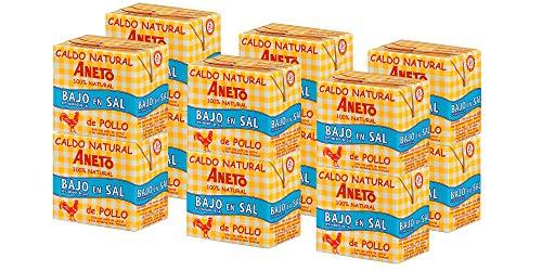 Aneto 100% Natural - Caldo de Pollo Bajo en Sal - caja de 12 unidades de 500ml