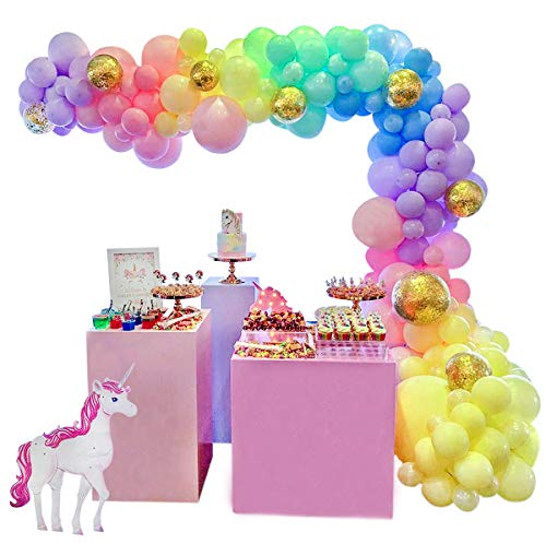 HUIBO Unicorn Balloon Garland Arch Kit 5M 16ft Long Pastel Rainbow Balloons Birthday Party Centerpiece Decorations for Girls Kids