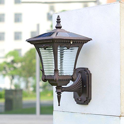Applique murale solaire extérieure, lampe murale en aluminium blanc chaud jardin villa en aluminium (Color : White light)