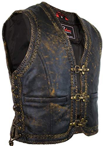 MDM Herren Vintage Lederweste mit doppelt geflochten (2XL)
